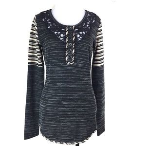 Miss Me Knit Top Long Sleeve Sz Small